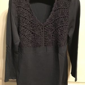 Ladies gray knitted light sweater with beads